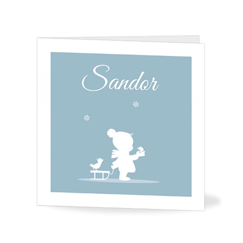 Geboortekaartje jongetje in winter