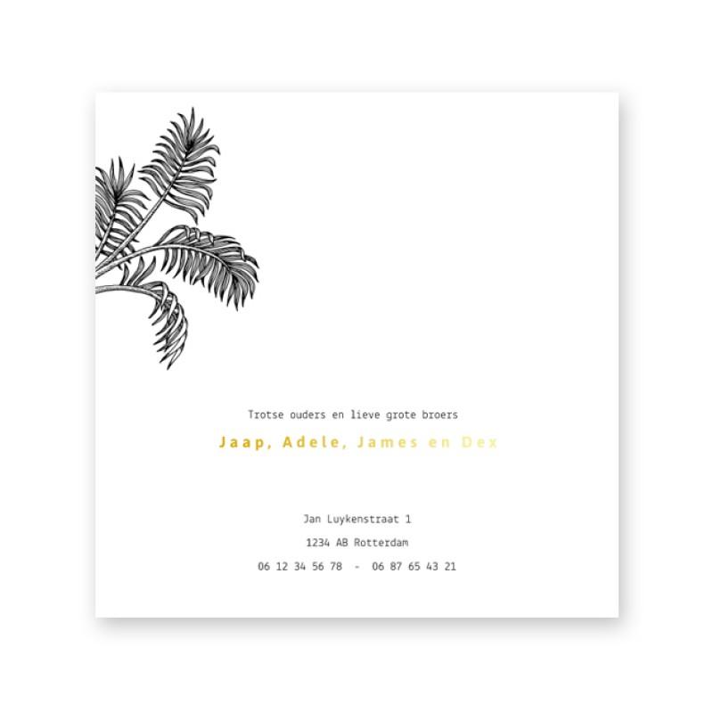 Geboortekaartje Jungle en goudfolie