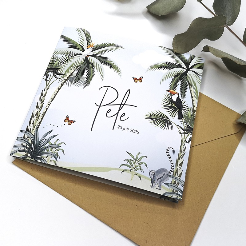 Geboortekaartje Jungle met palmbomen