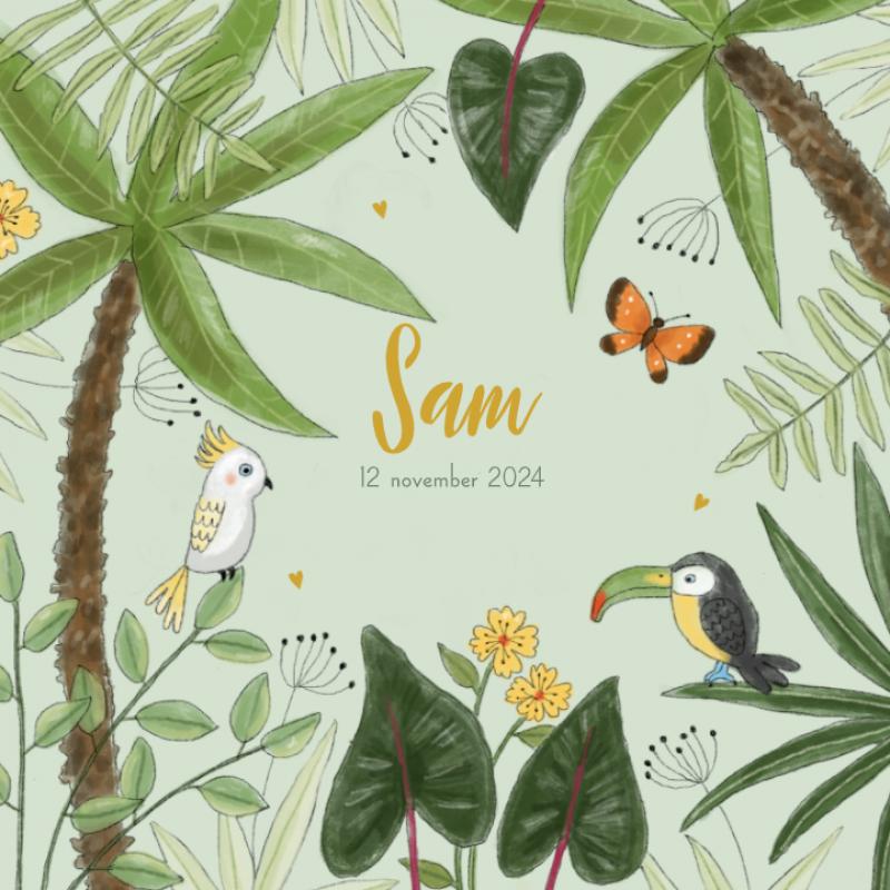 Geboortekaartje jungle vogels