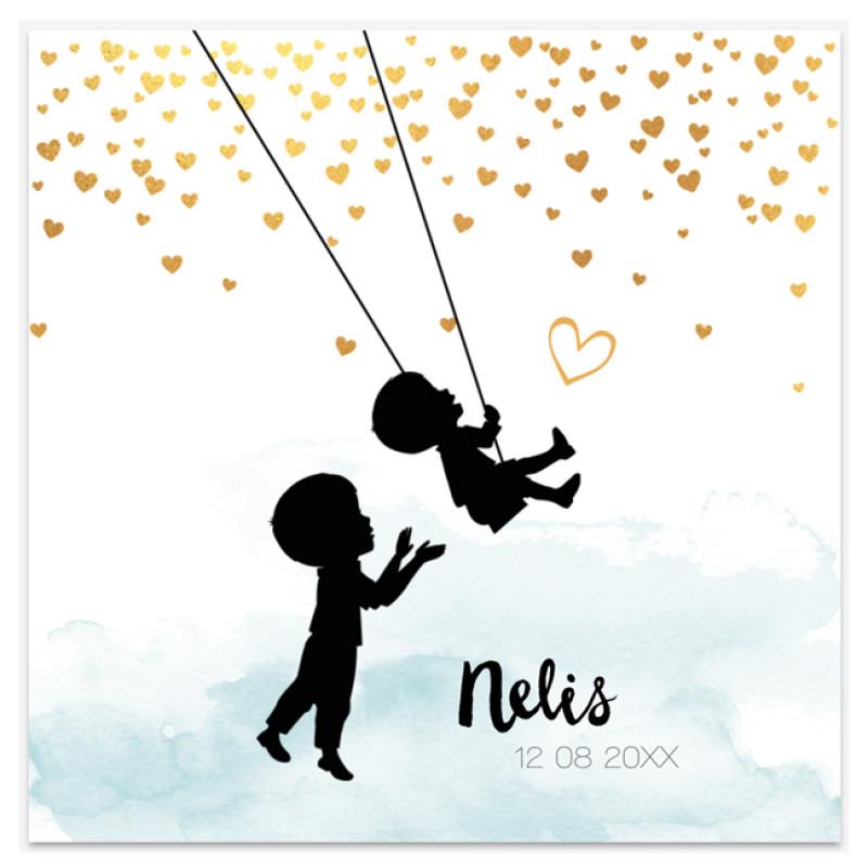 Geboortekaartje Kaart confetti en schommel