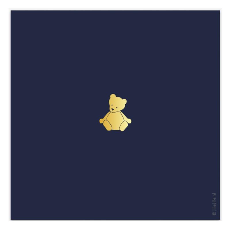 Geboortekaartje Kaart goudfolie beertjes
