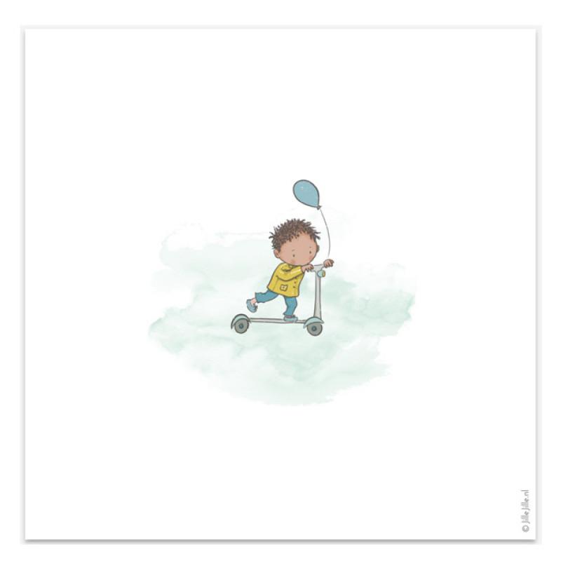 Geboortekaartje Kaart jongen step krullen