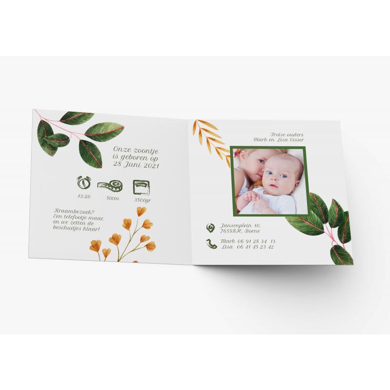 Geboortekaartje Kaart met bloemenkrans