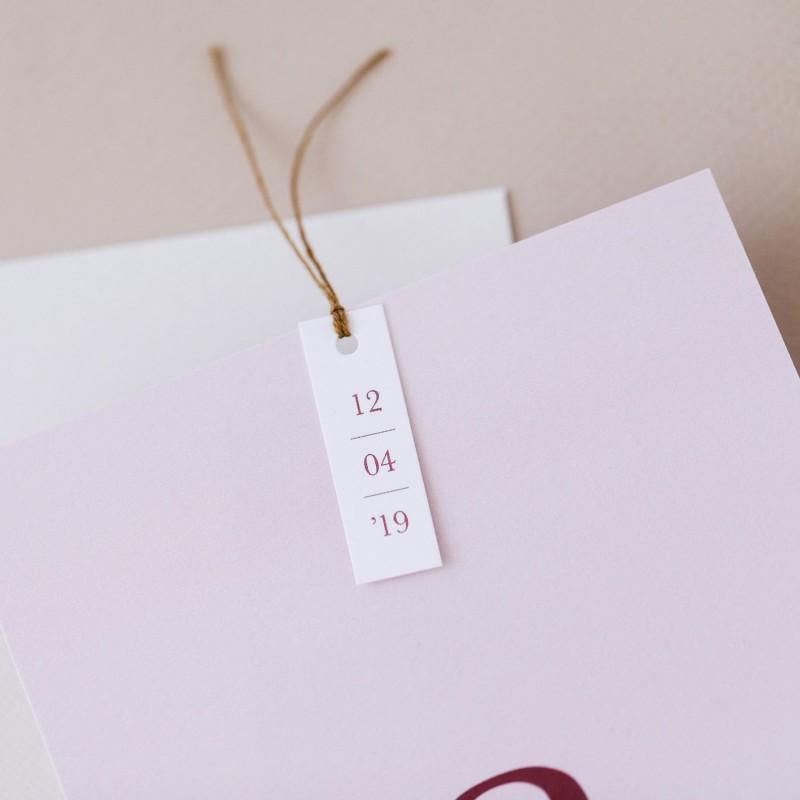Geboortekaartje Kaart met initiaal - roze