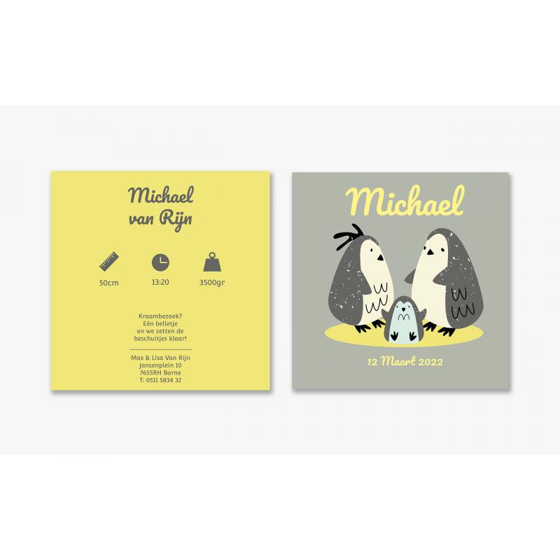 Geboortekaartje Kaart pinguïn familie