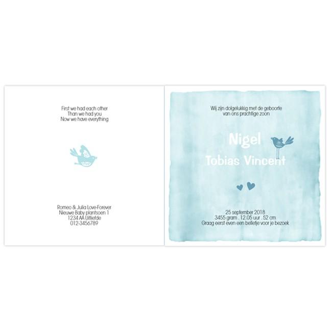 Geboortekaartje kaart silhouet & waterverf