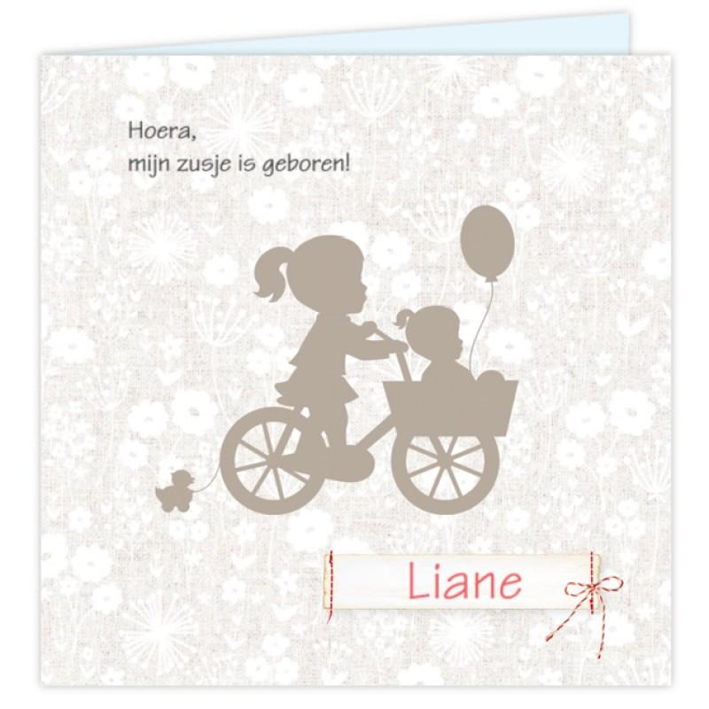 Geboortekaartje Kaart silhouet zusje fiets