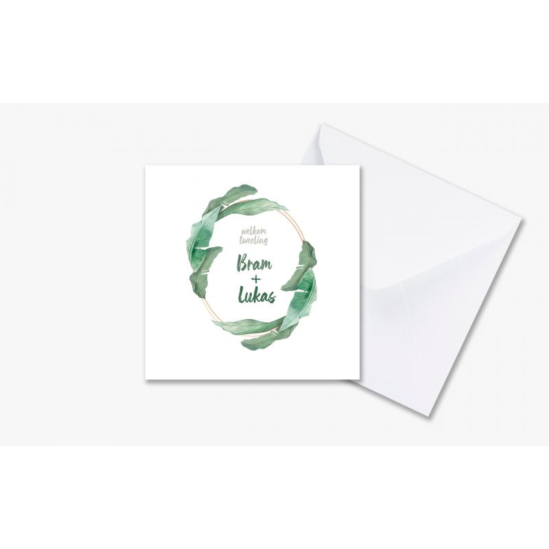 Geboortekaartje Kaart tweeling groen & wit