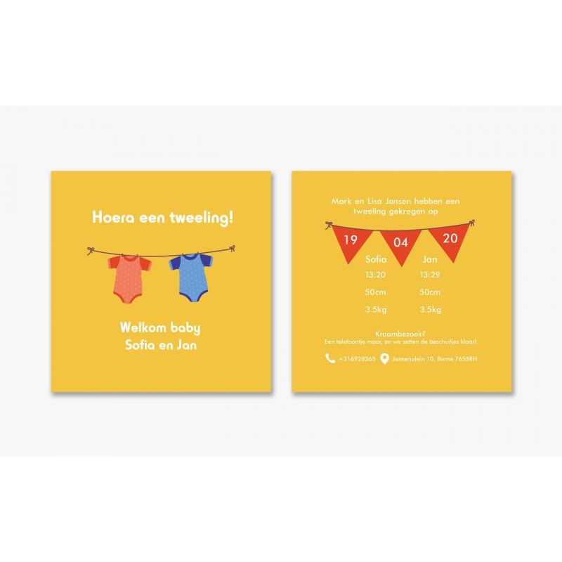 Geboortekaartje Kaart tweeling rompertje