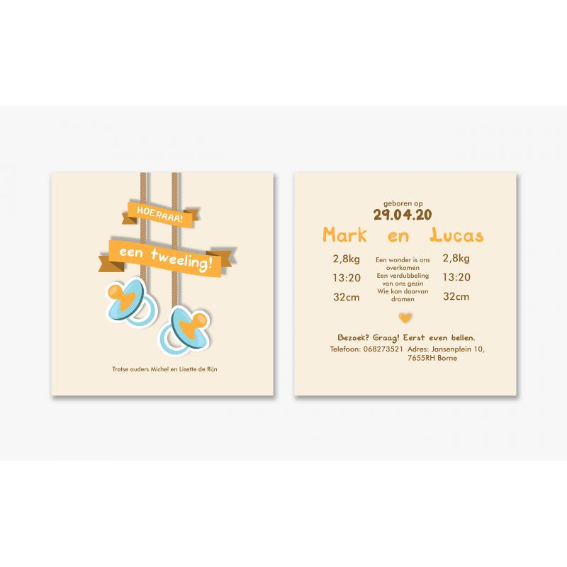Geboortekaartje Kaart tweeling speentjes