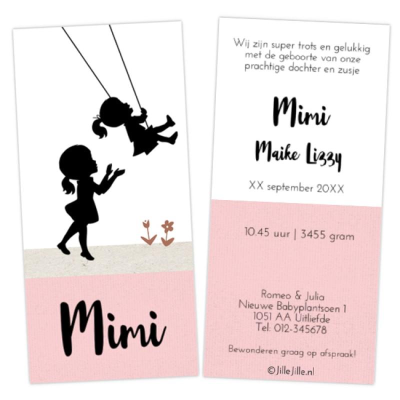Geboortekaartje kaart zusjes schommel