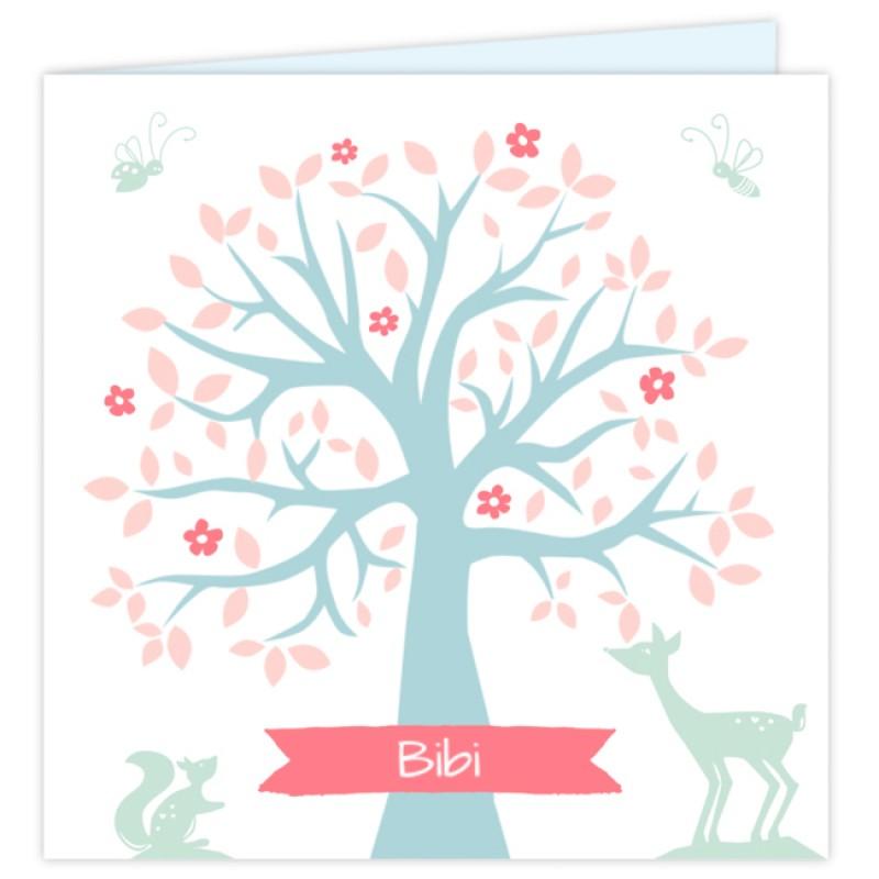 Geboortekaartje Kaartje boom & hertje