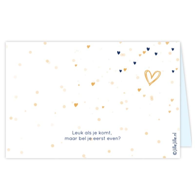 Geboortekaartje kaartje confetti hartjes
