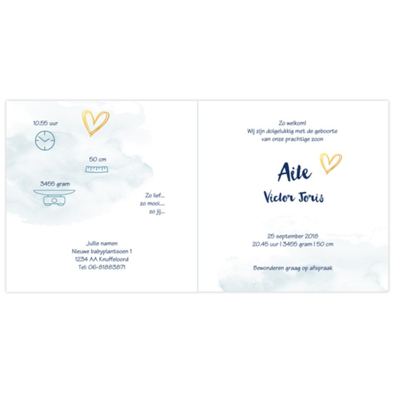 Geboortekaartje Kaartje hartjes-waterverf