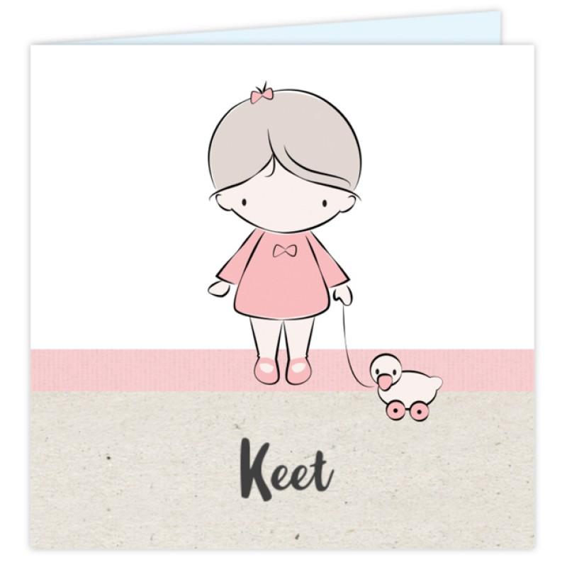 Geboortekaartje Kaartje meisje met eendje