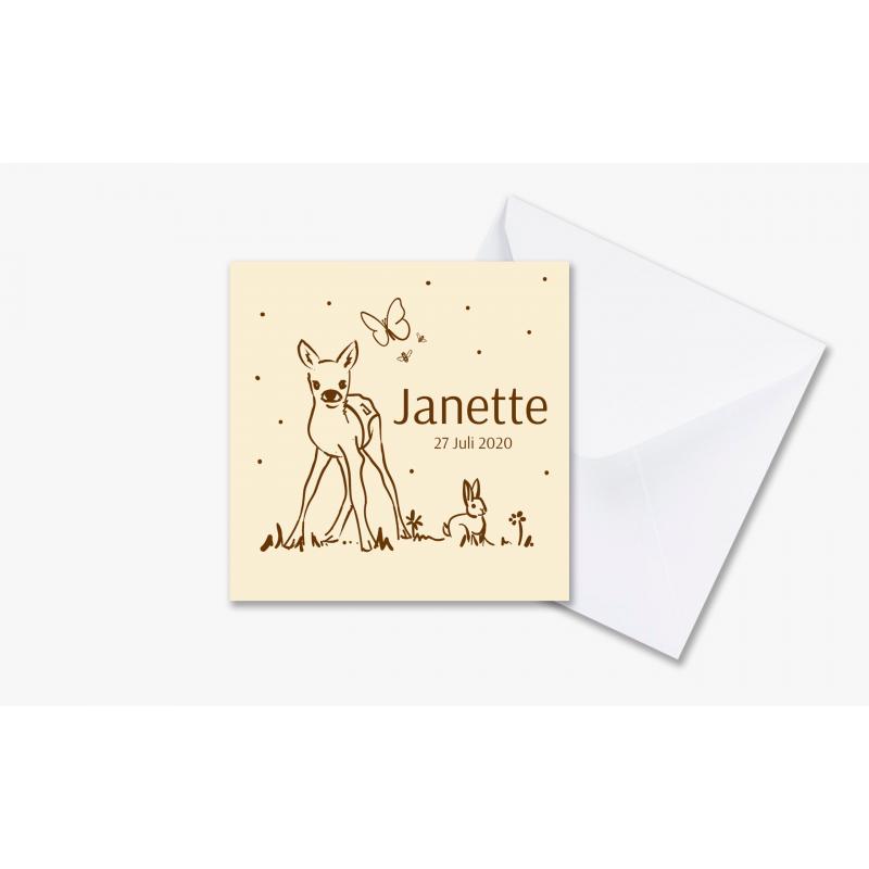 Geboortekaartje Kaartje met hert en konijn