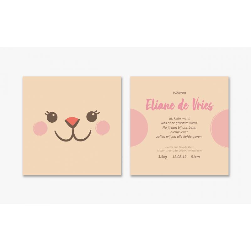 Geboortekaartje Kaartje roze wangetjes