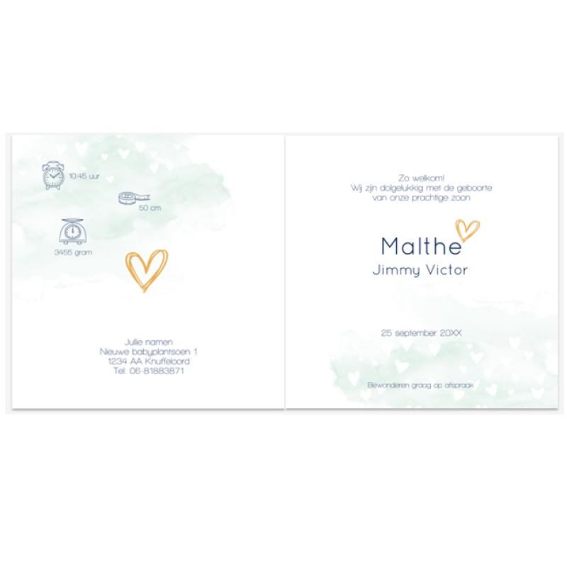 Geboortekaartje kaartje waterverf silhouet