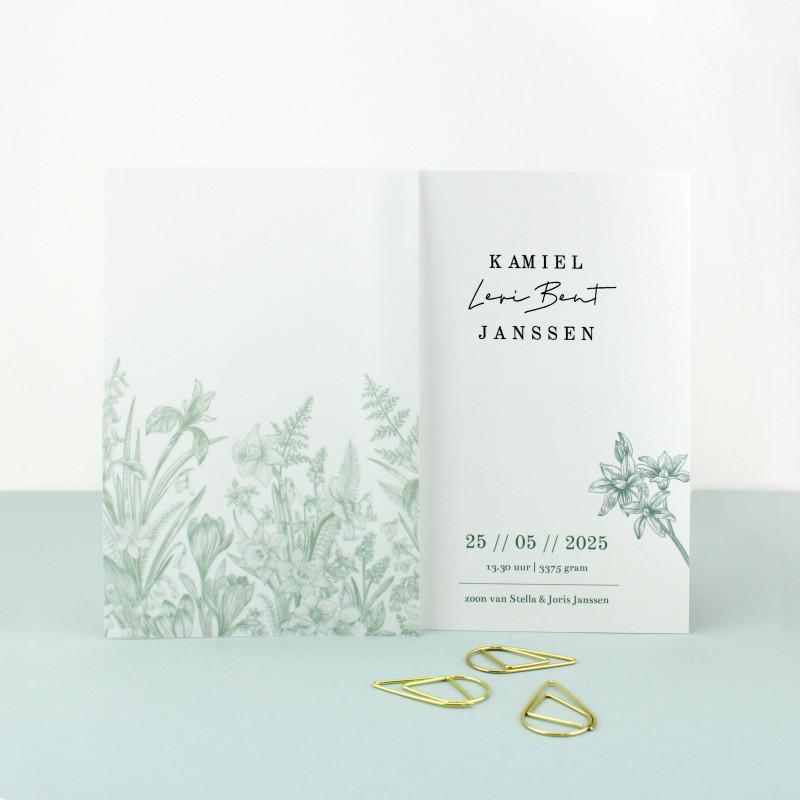 Geboortekaartje Kalkpapier label bloemen