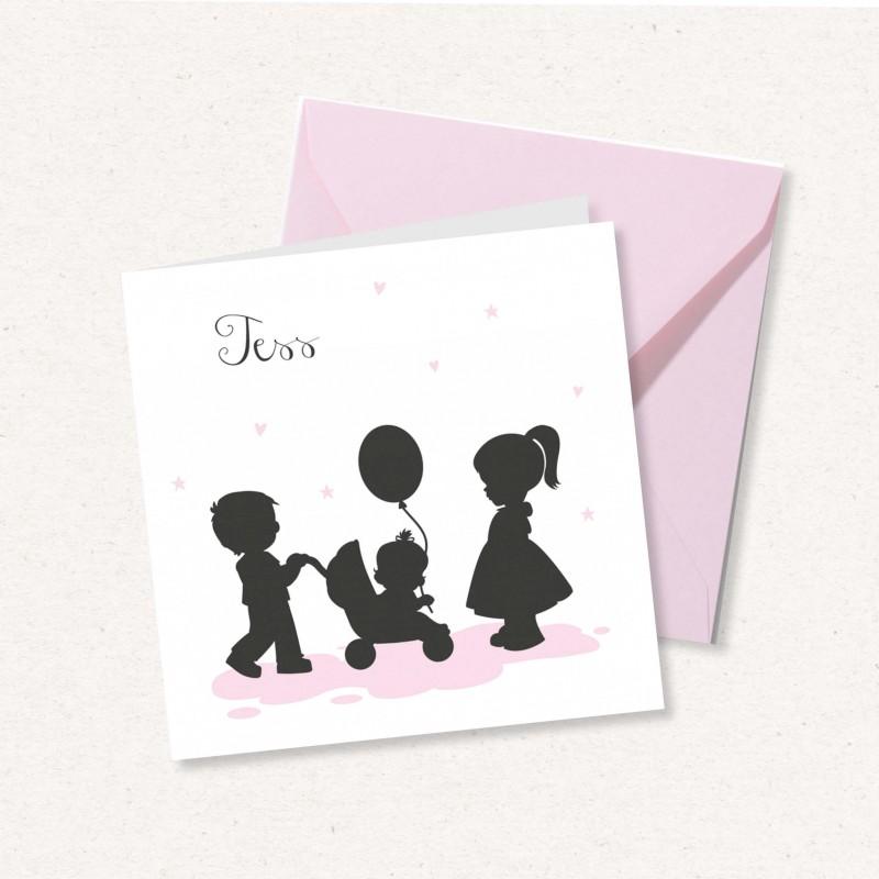 Geboortekaartje Kindjes in silhouetten
