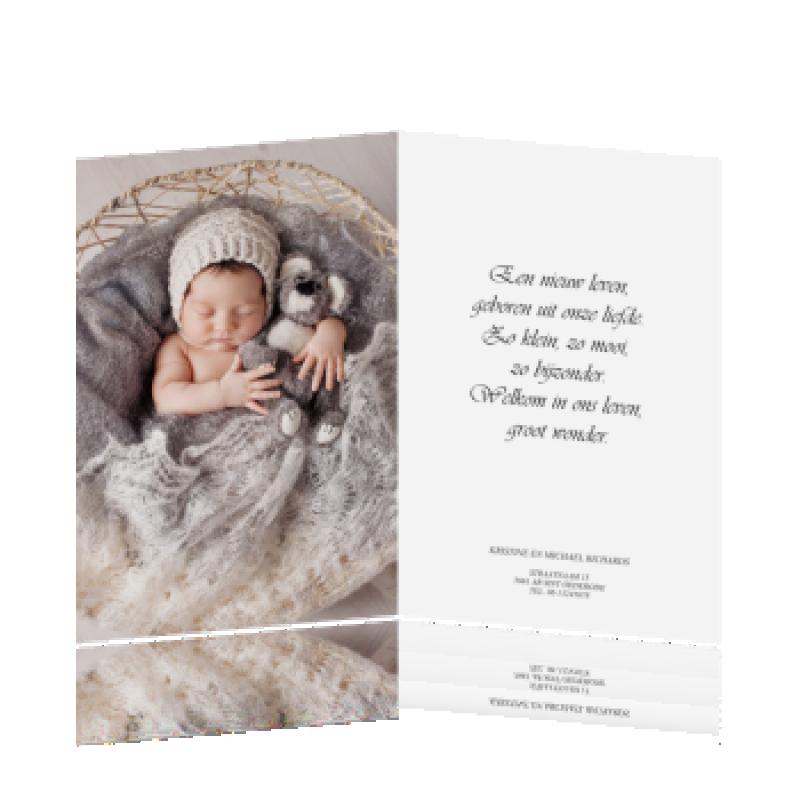 Geboortekaartje Klassiek roze met foto's