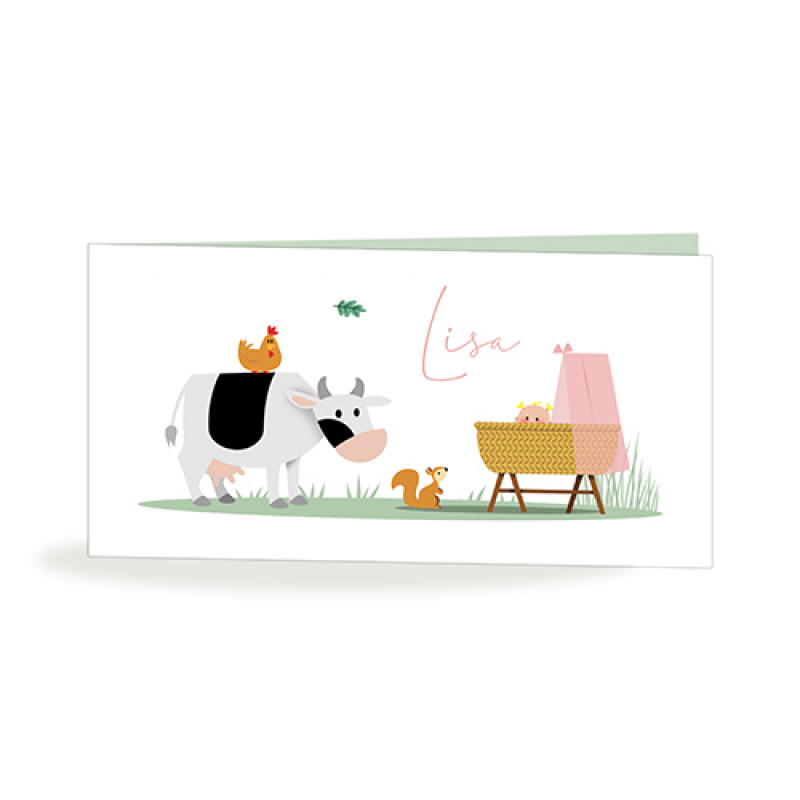 Geboortekaartje koe bij wieg
