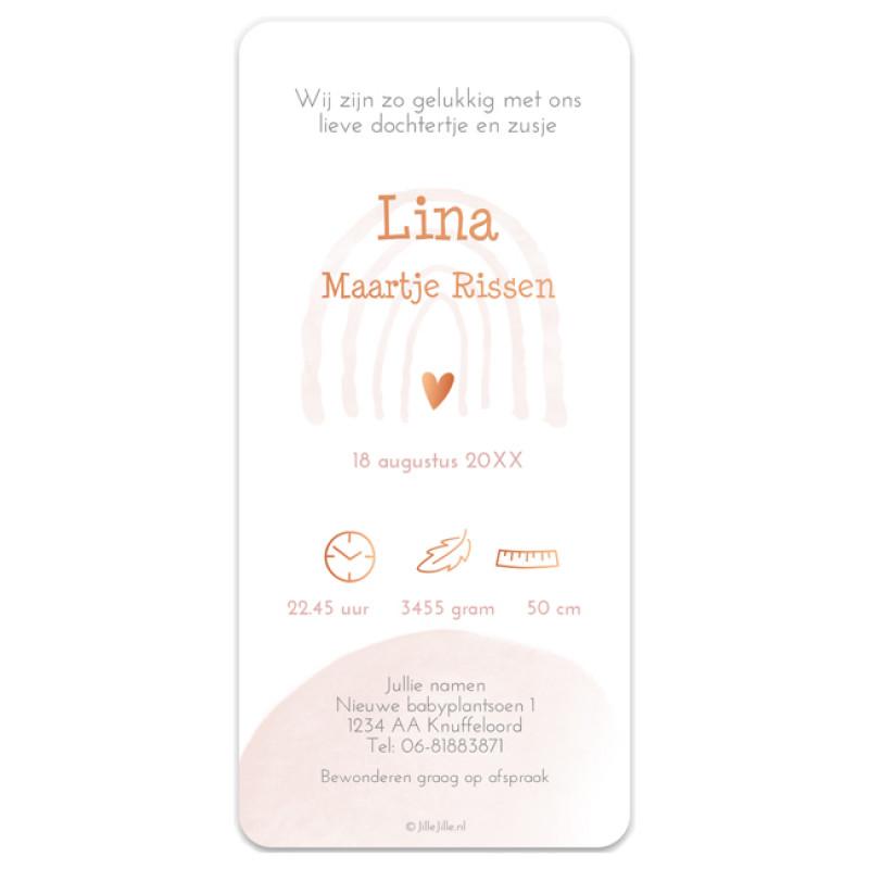 Geboortekaartje koperfolie kaart silhouet