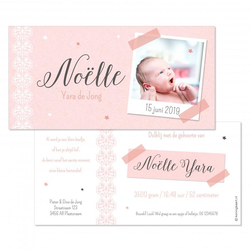 Geboortekaartje Kraft en polaroid foto
