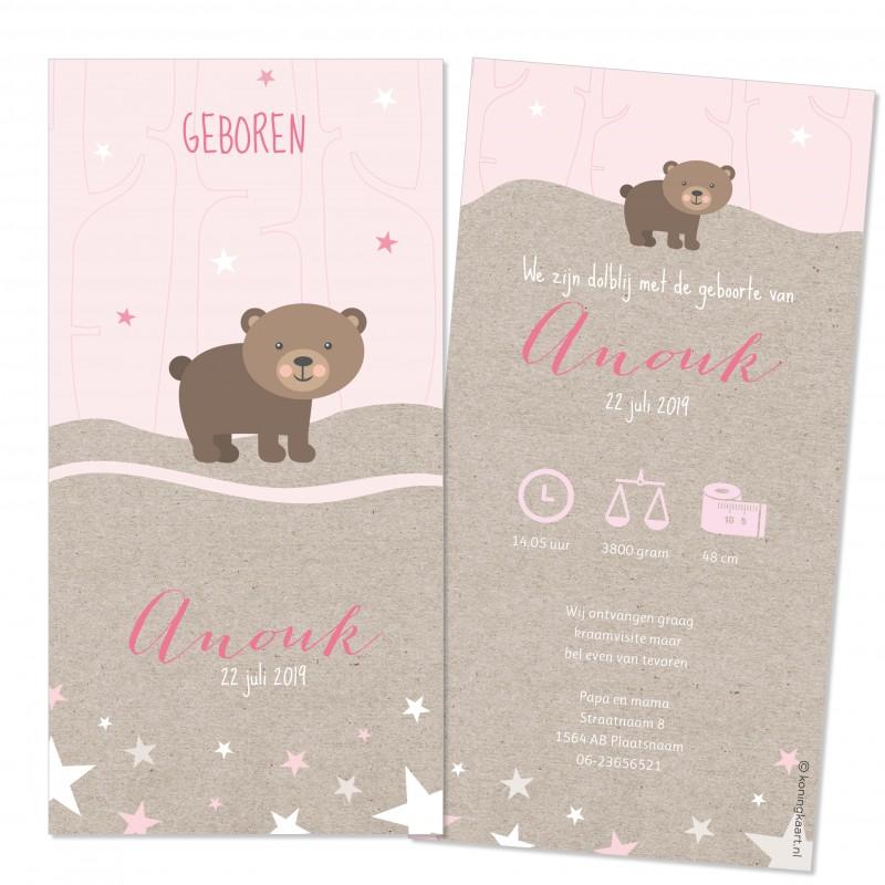 Geboortekaartje Kraftpapier beer sterren