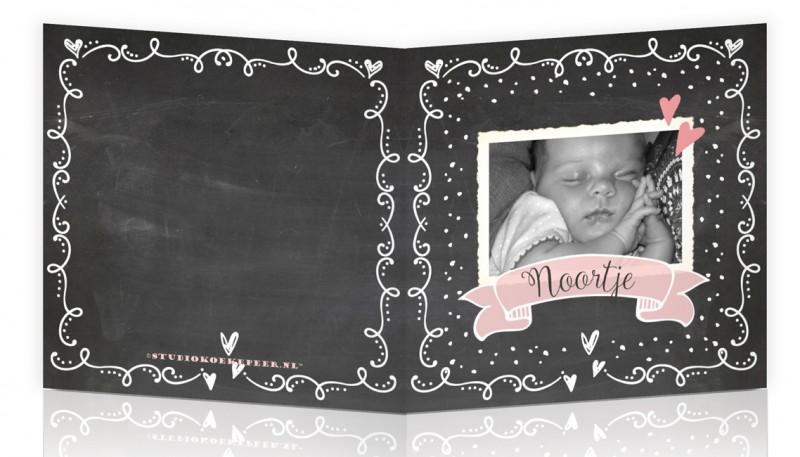 Geboortekaartje Vintage krijtbord