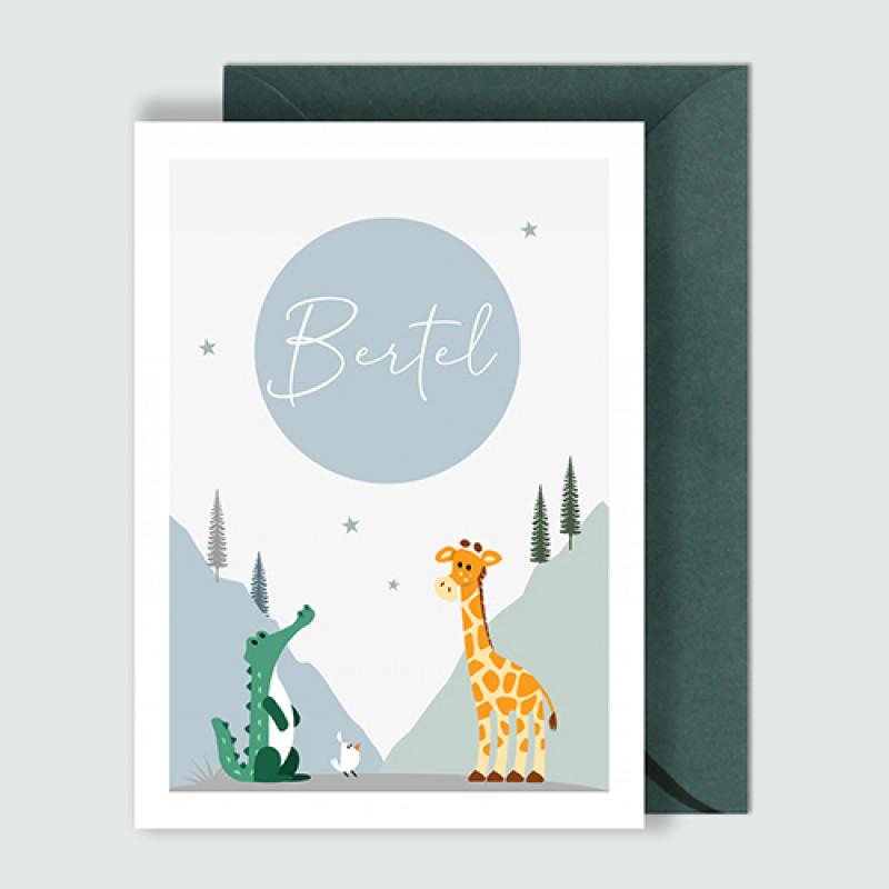 Geboortekaartje krokodil en giraf