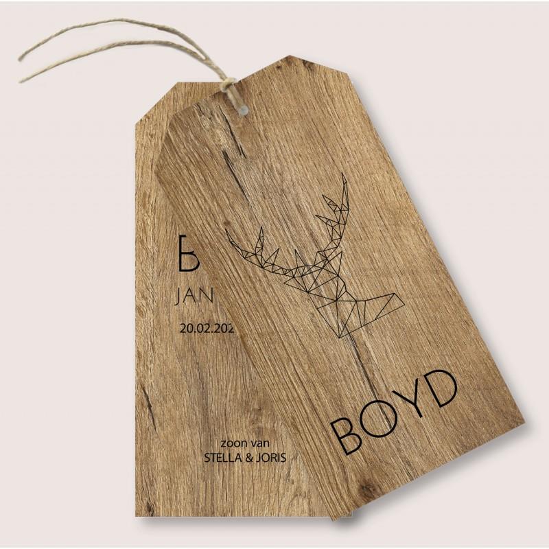 Geboortekaartje Label kaart hout Boyd