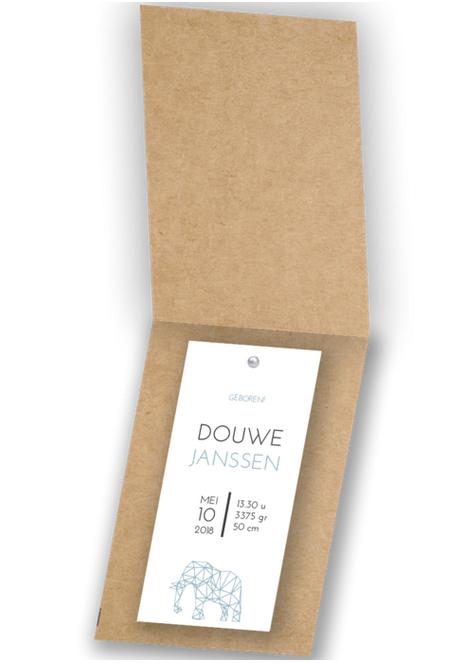 Geboortekaartje Label kaartje - Douwe