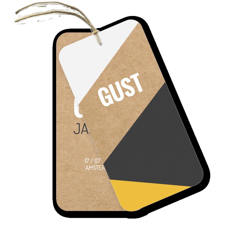 Geboortekaartje Label kaartje Gust