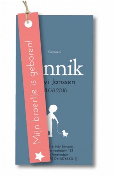 Geboortekaartje label kaartje - Jannik