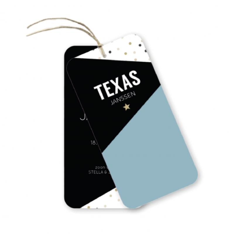 Geboortekaartje Label kaartje - texas