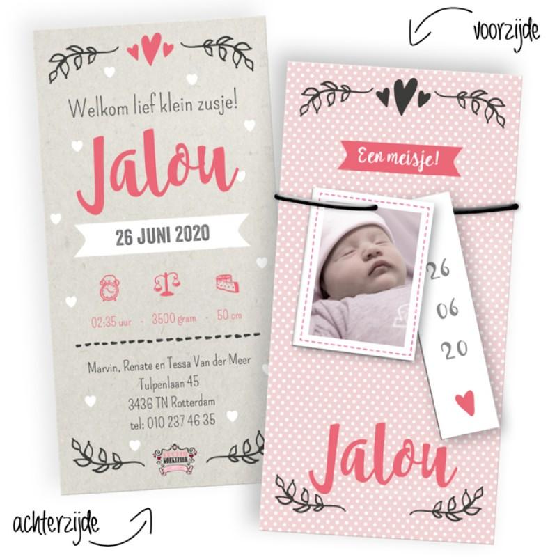 Geboortekaartje Met labeltjes