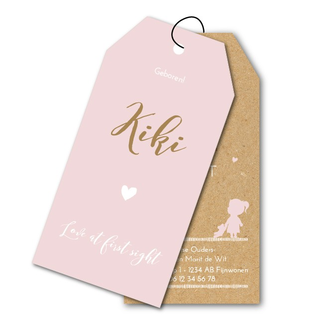 Geboortekaartje Labels  |  kraft Kiki