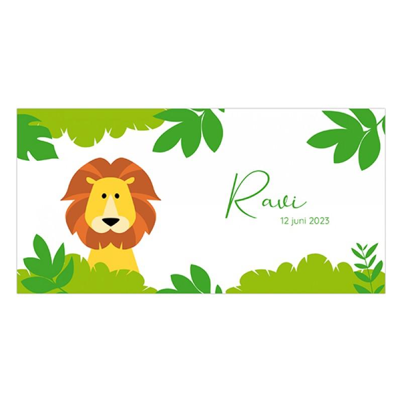 Geboortekaartje leeuw in jungle