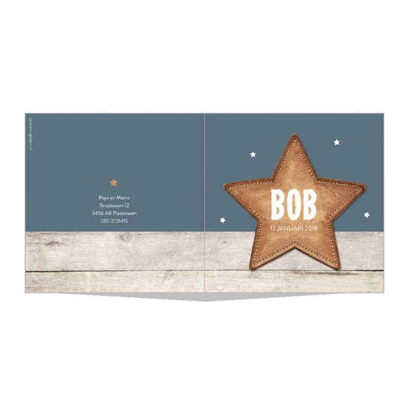 Geboortekaartje Leren ster en steigerhout