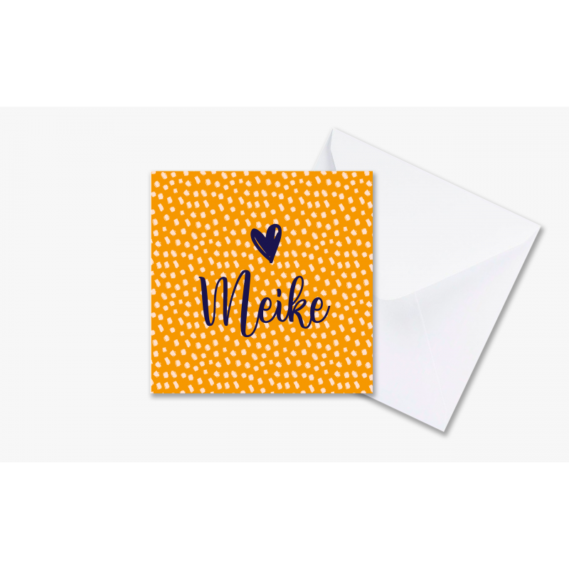 Geboortekaartje Lieve kaart stipjes oranje