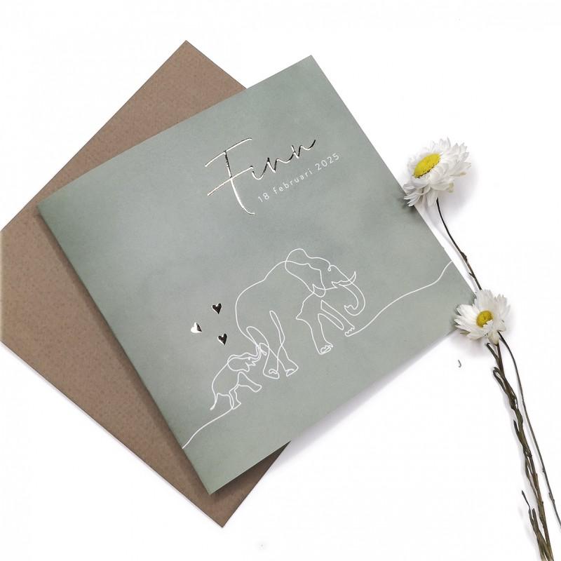 Geboortekaartje Lijntekening olifant folie