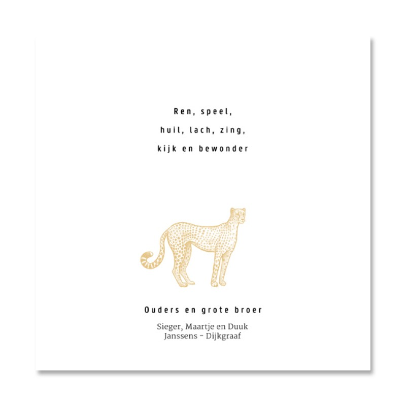 Geboortekaartje Luipaard en mosterdgeel