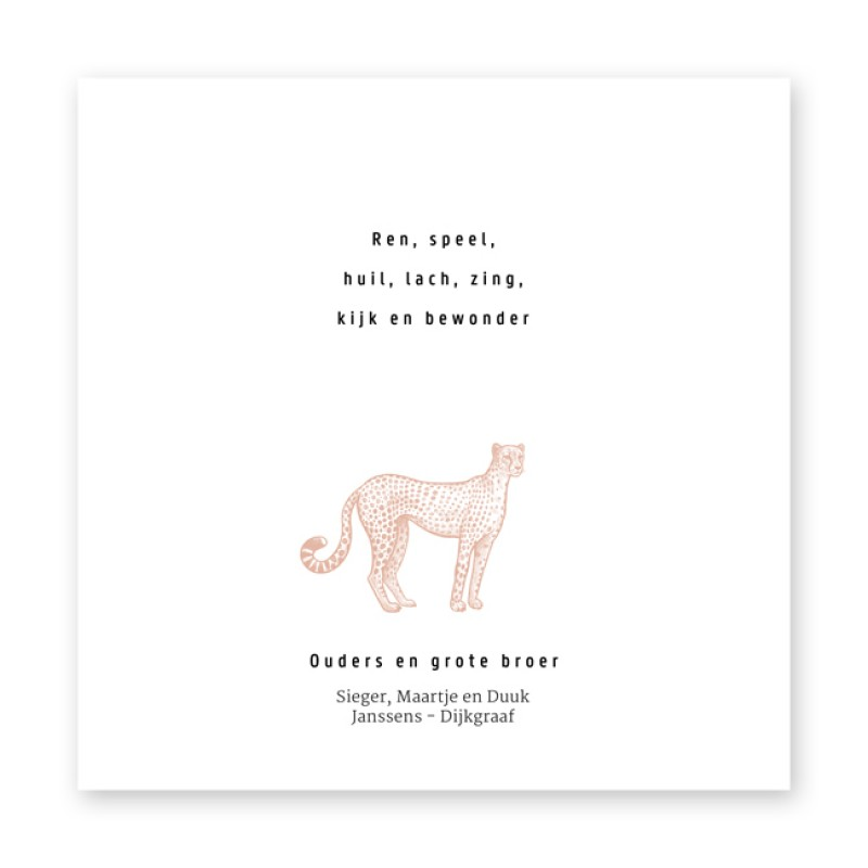 Geboortekaartje Luipaard en oudroze
