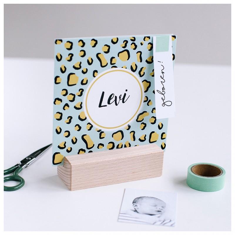 Geboortekaartje Luipaard print met mint