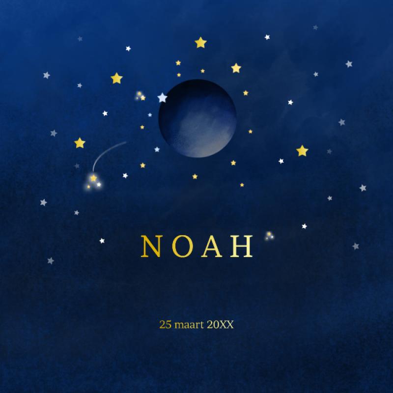 Geboortekaartje Maan en sterren met folie