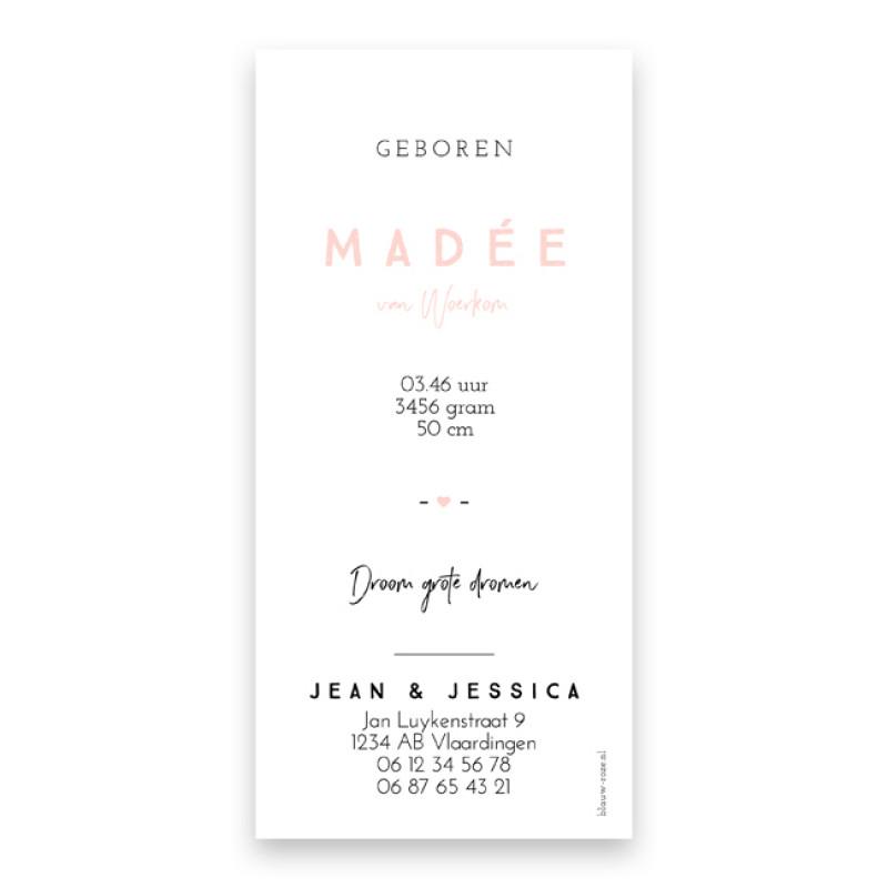 Geboortekaartje Madée