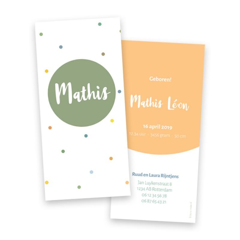 Geboortekaartje Mathis - kleurige stippen