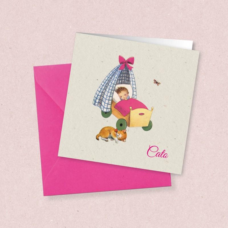 Geboortekaartje Meisje in houten wieg